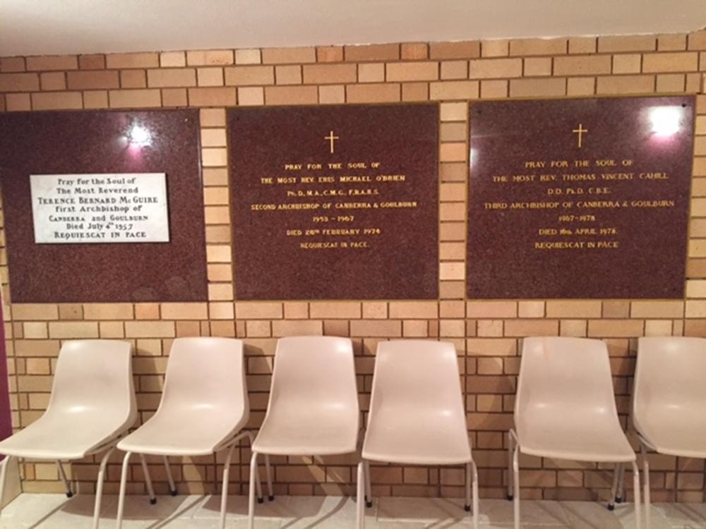 Photo of the crypt interior including plaques