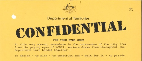 Banner from an Dept of Territories memo
