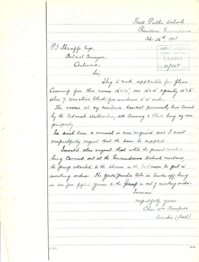 Letter from Charles Thompson to the District Surveyor, P.J. Sheaffe dated 26/02/1921
