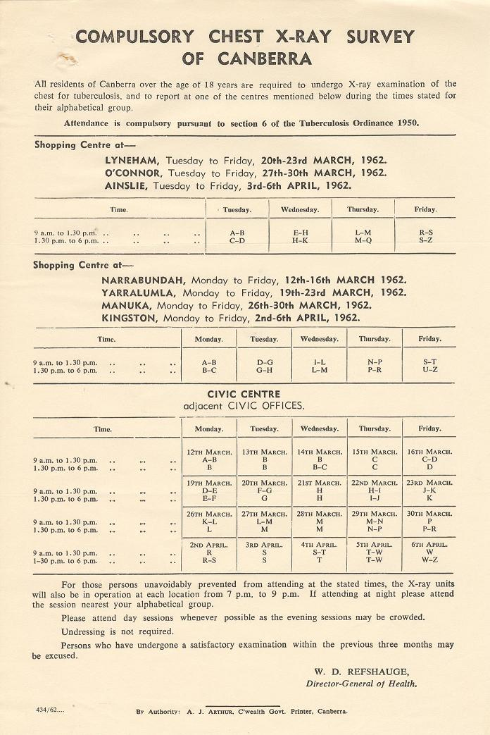 Compulsory Chest X-Ray Survey of Canberra - timetable (1962)