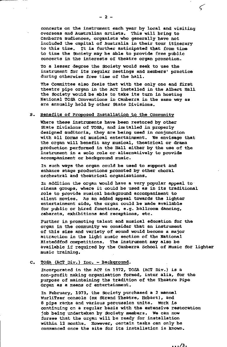Theatre Organ Society of Australia (ACT) : Proposal to install a pipe organ in the Albert Hall 21/05/1975 - page 2