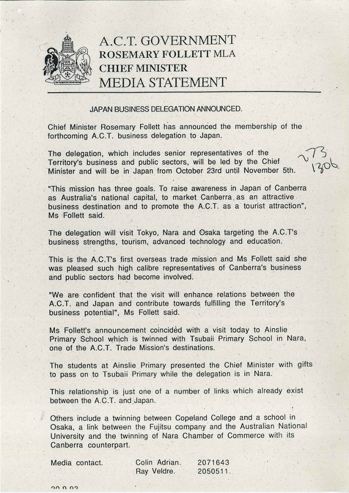 Chief Minister's Media Statement 20/09/1993 - Japan Business Delegation Announced